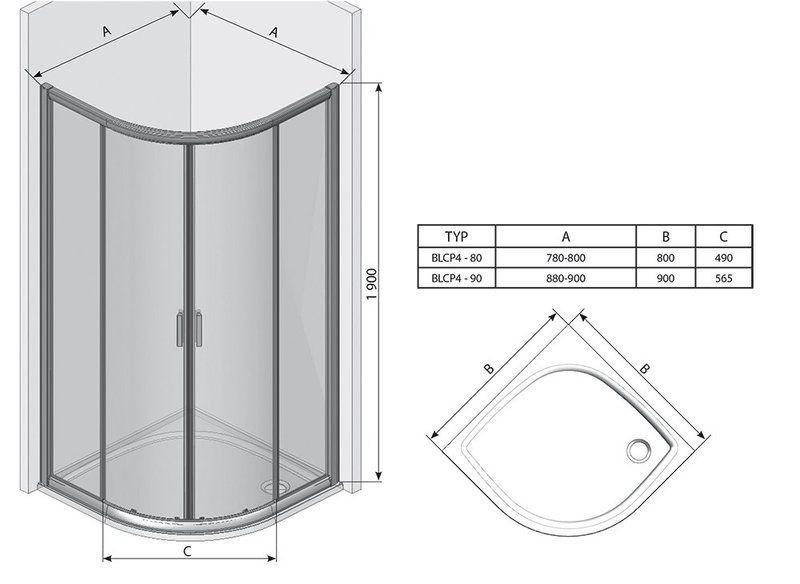 Душевой уголок Blix BLCP4-80 белый+transparent