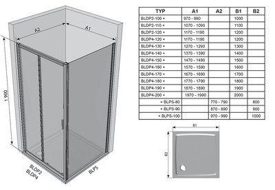 Душевые двери Blix BLDP2-110 R-L полированный алюминий+grape цена