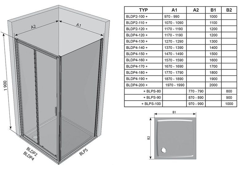 Душевые двери Blix BLDP2-110 R-L полированный алюминий+grape