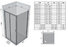 Душевые двери Blix BLDP4-190 полир.алюм.+Transparent