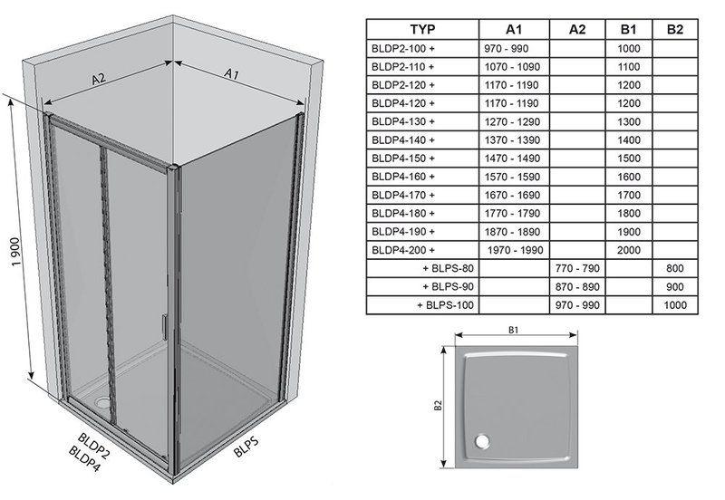 Душевые двери Blix BLDP4-180 сатин+Transparent