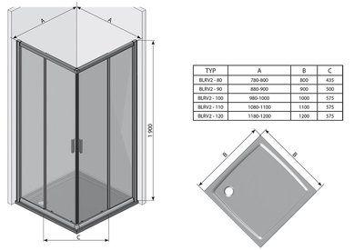Душевой уголок Blix BLRV2K-120 сатин+transparent цена