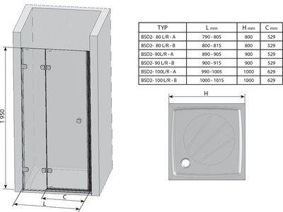 Душевые двери Brilliant BSD2-80 A-L левосторонняя хром+transparent цена