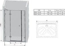 Душевые двери Brilliant BSD3-110 R правосторонняя хром+transparent