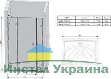 Душевые двери Brilliant BSD3-110 L левосторонняя хром+transparent