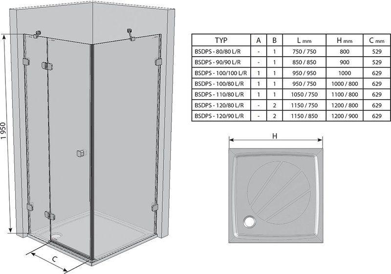 Душевой уголок Brilliant BSDPS-100/80 R правосторонняя хром+transparent
