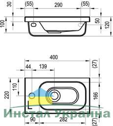 Умывальник Ravak Chrome 400х220 левосторонний