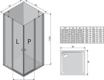 Душевой уголок Chrome CRV2-90 полир. алюм.+Transparent цена