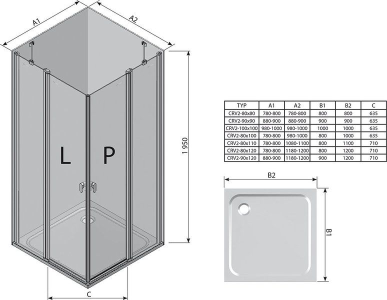 Душевой уголок Chrome CRV2-90 полир. алюм.+Transparent