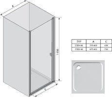 Душевые двери Chrome CSD1-90 полир. алюм.+transparent