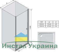 Душевые двери Chrome CSD1-90 сатин+transparent