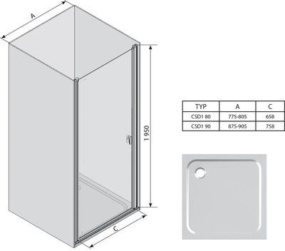 Душевые двери Chrome CSD1-90 полир. алюм.+transparent цена