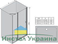 Душевые двери Chrome CSD2-100 полир. алюм.+Transparent