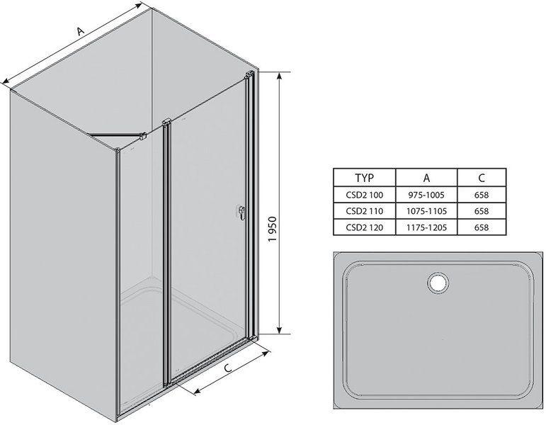 Душевые двери Chrome CSD2-110 сатин+Transparent