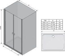 Душевые двери Chrome CSDL2-90 полир. алюм.+Transparent
