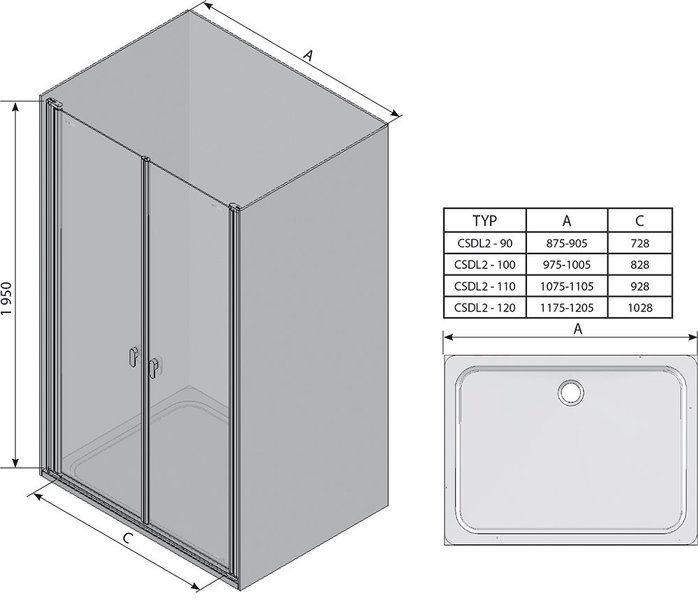 Душевые двери Chrome CSDL2-90 белый+Transparent