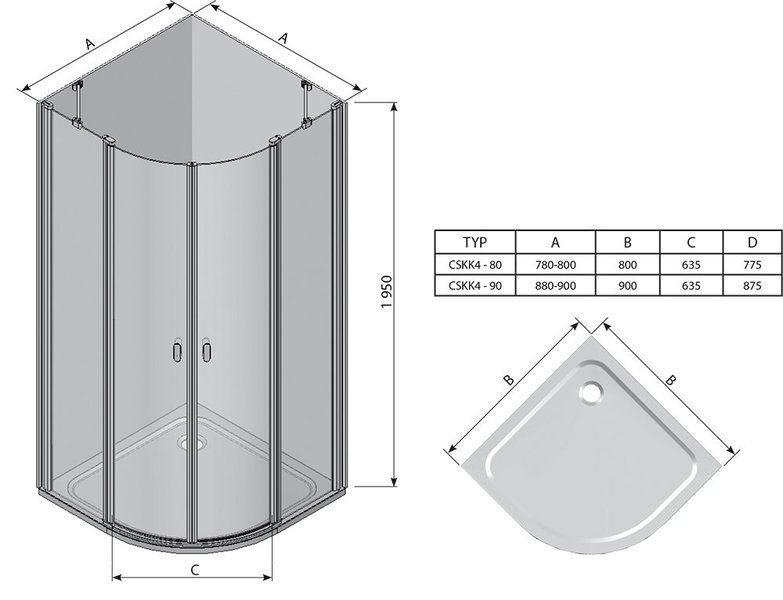 Душевой уголок Chrome CSKK4-90 полир алюм.+Transparent
