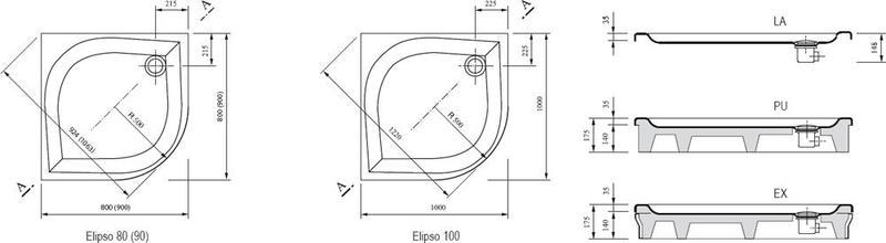 Душевой поддон Ravak серии Elipso-100 LA белый
