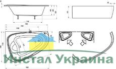 Акриловая ванна Ravak LoveStory II PU Plus 1960 x 1135 - 1390 R правосторонняя