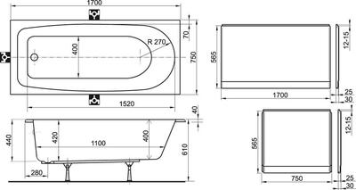 Акриловая ванна Ravak Nerida 170x75 цена