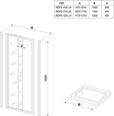 Душевые двери Rapier NRDP2-120 L сатин+transparent цена