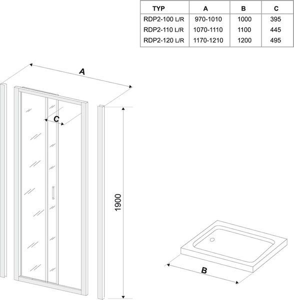 Душевые двери Rapier NRDP2-120 R сатин+grape