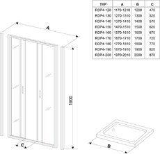 Душевые двери Rapier NRDP4-130 сатин+transparent