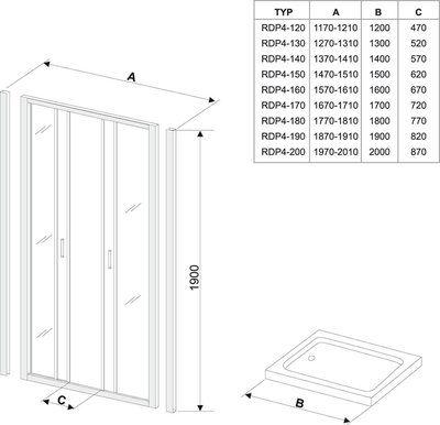 Душевые двери Rapier NRDP4-130 белый+transparent цена