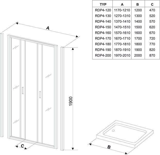 Душевые двери Rapier NRDP4-130 белый+transparent