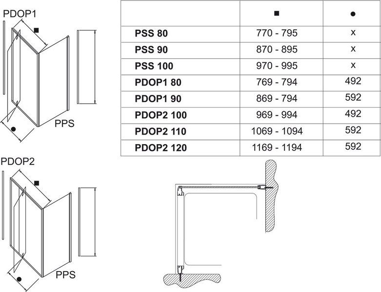 Неподвижная стенка Pivot PPS-90 белый+transparent