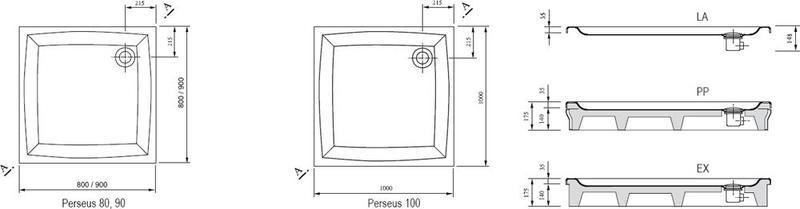 Душевой поддон Ravak серии Perseus-80 LA белый