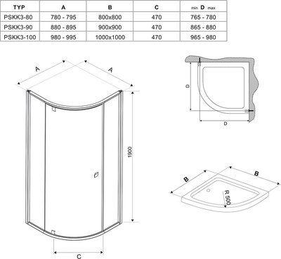 Душевой уголок Pivot PSKK3-90 сатин/сатин+transparent цена