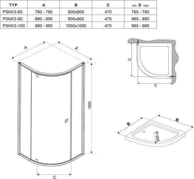 Душевой уголок Pivot PSKK3-90 белый/белый+transparent