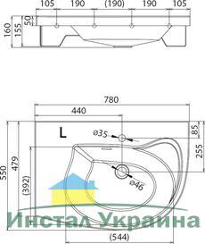 Умывальник Ravak Rosa Comfort 780x550 левосторонний