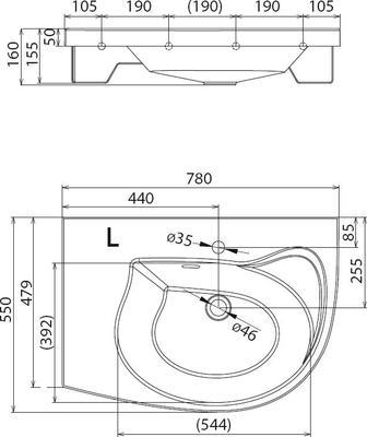 Умывальник Ravak Rosa Comfort 780x550 левосторонний цены