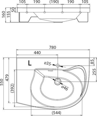 Умывальник Ravak Rosa Comfort 780x550 левосторонний цена