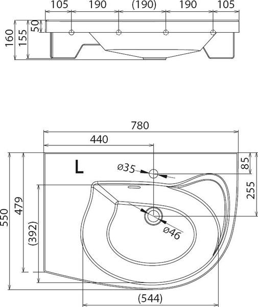 Умывальник Ravak Rosa Comfort 780x550 правосторонний