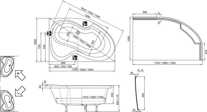 Акриловая ванна Ravak Rosa II PU Plus 170 x 105 R правосторонняя