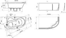 Акриловая ванна Ravak Rosa 95 150 x 95 L левосторонняя
