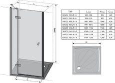 Душевые двери SmartLine SMSD2-100 (B) L левосторонняя хром+transparent