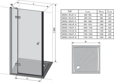 Душевые двери SmartLine SMSD2-90 (B) R правосторонняя хром+transparent цены