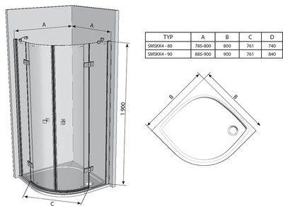 Душевой уголок SmartLine SMSKK4-80 хром+transparent цена