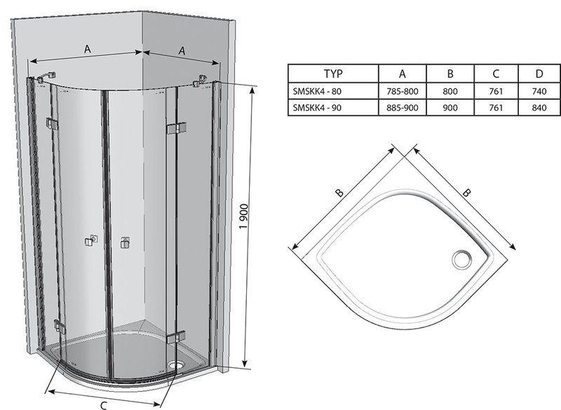 Душевой уголок SmartLine SMSKK4-80 хром+transparent