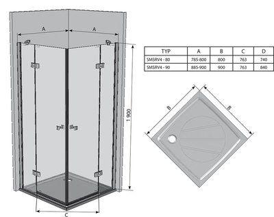 Душевой уголок SmartLine SMSRV4-90 хром+transparent цена