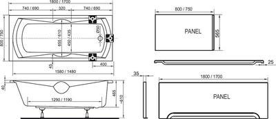 Акриловая ванна Ravak Sonata PU Plus 170x75 цена