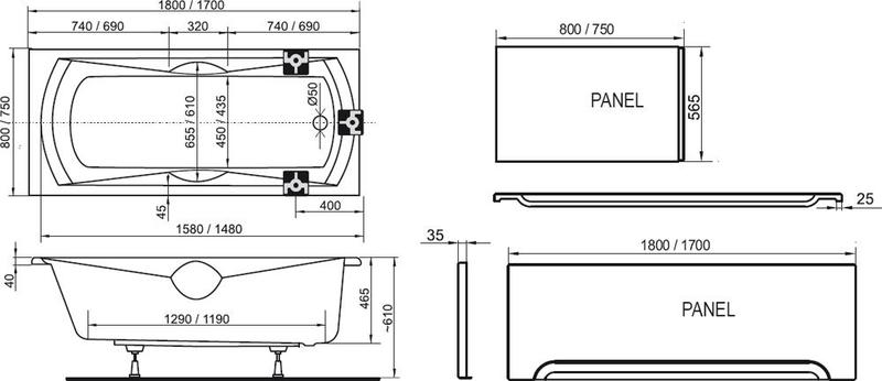 Акриловая ванна Ravak Sonata PU Plus 170x75