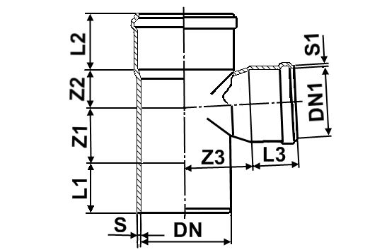 Мпласт Тройник 87 град.30' DN 110-110 для наружной канализации