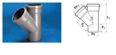 WAVIN Тройник ВТ/ПВХ; 75x75/45 град. (3060421804) для внутренней канализации