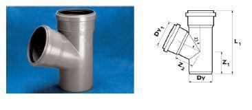 WAVIN Тройник ПП; 40х40/67 град. (3261452430) для внутренней канализации