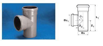 WAVIN Тройник ВТ/ПВХ; 75x75/88 град. (3060421808) для внутренней канализации цена
